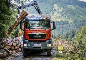 Holzverladung auf MAN LKW - Laubichler Forstservice