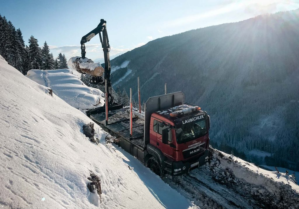 Holzverladung, Holztransport im Winter