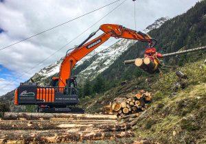 Bagger-Prozessor Doosan 210 Forstbagger mit Harvesterkopf - Prozessorarbeiten im Gebirge
